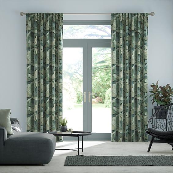 William Morris Acanthus Velvet Forest Curtains