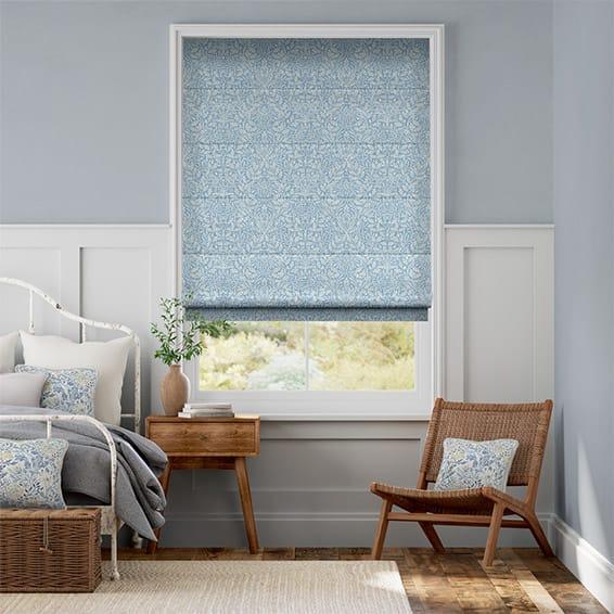 William Morris Acorn Soft Blue Roman Blind