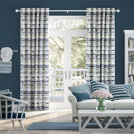 Aguas Linen Splash Blue Curtains