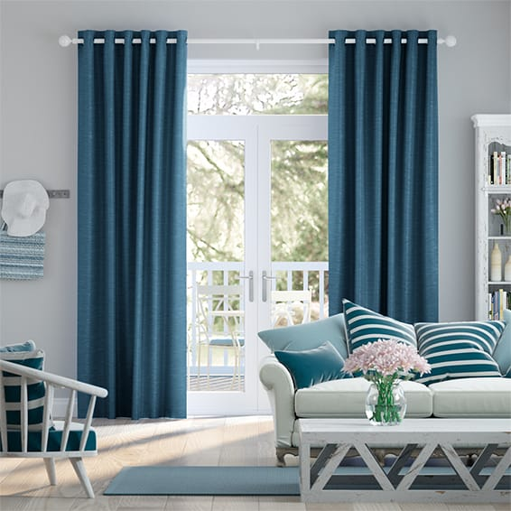 Ahisma Luxe Faux Silk Blue Azure Curtains