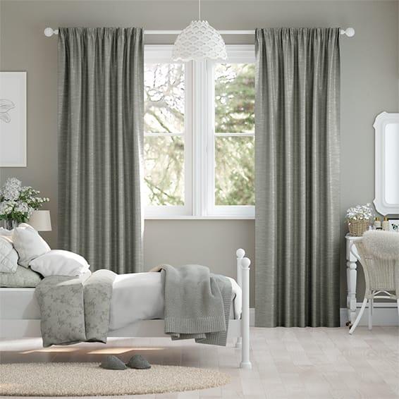 Ahisma Luxe Faux Silk Chrome Curtains