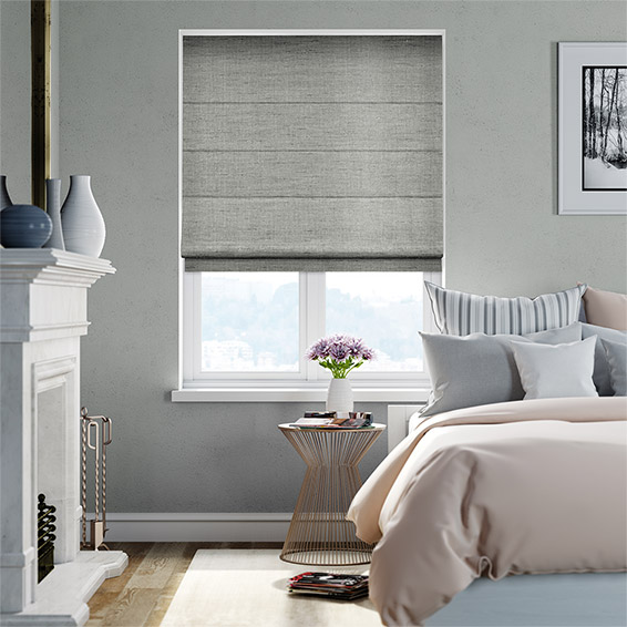 Ahisma Luxe Faux Silk Chrome Roman Blind