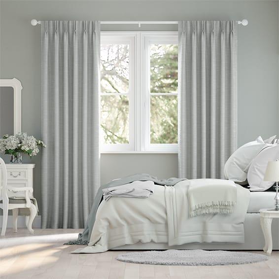Ahisma Luxe Faux Silk Silver Curtains