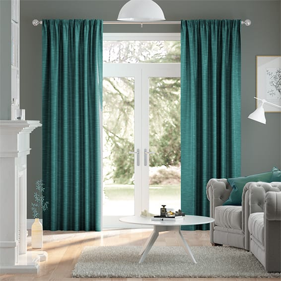 Ahisma Luxe Faux Silk Turquoise Curtains