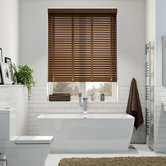 American Walnut & Walnut Wooden Blind with Tapes - 35mm Slat