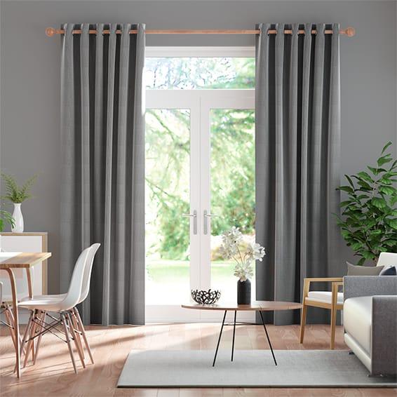 Amore Gunmetal Grey Curtains