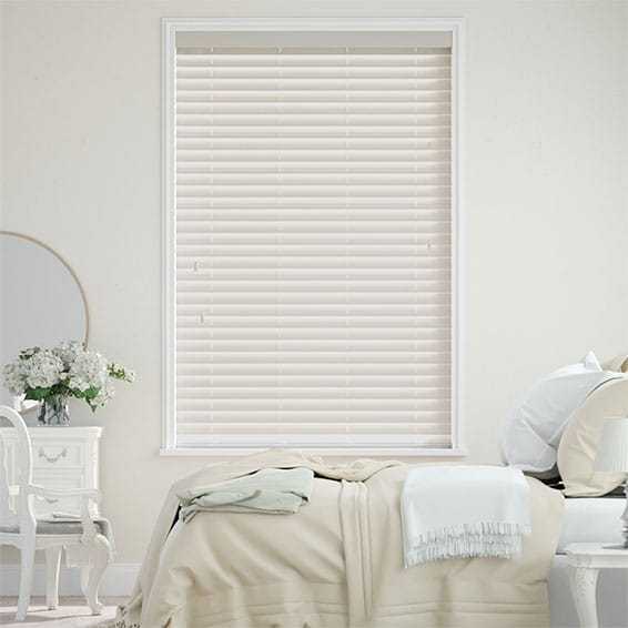 Antique Cream Faux Wood Blind - 50mm Slat