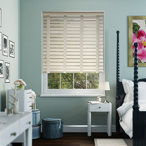 Antique White & Oyster Wooden Blind with Tapes - 64mm Slat