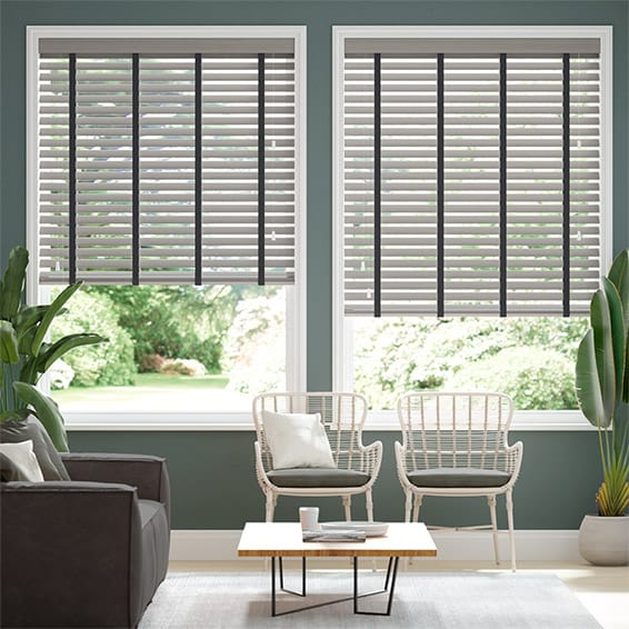 Atlanta Warm Grey & Midnight Faux Wood Blind - 50mm Slat