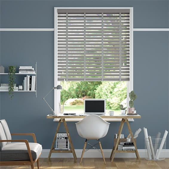 Atlanta Warm Grey & Tin Faux Wood Blind - 50mm Slat