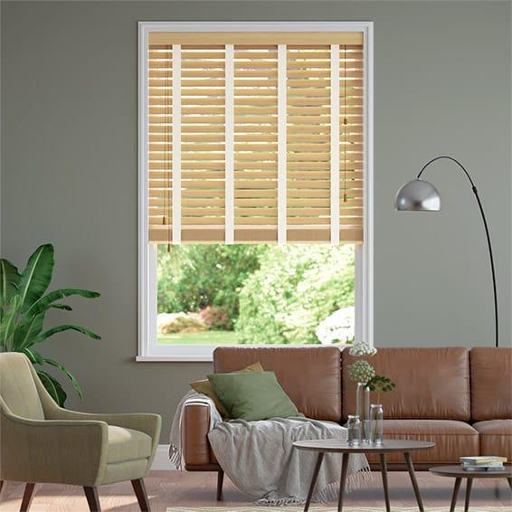 Autumn Oak and Soft Cotton Wooden Blind - 50mm Slat