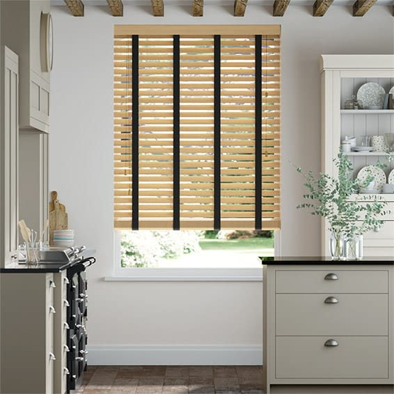 Autumn Oak and Noir Wooden Blind - 50mm Slat