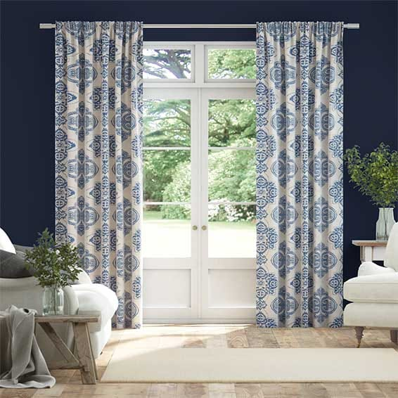 Baroque Cobalt Blue Curtains