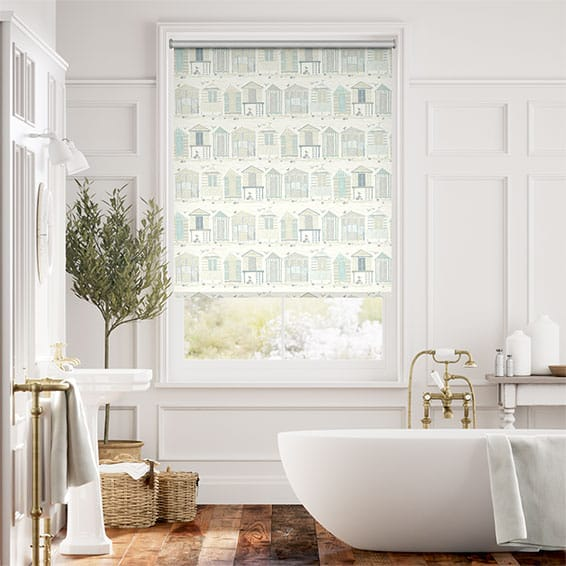 Beach Huts Mineral Roller Blind
