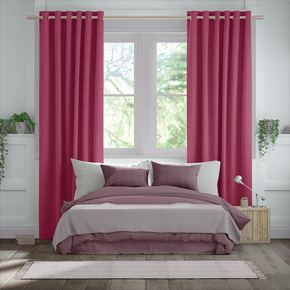 Bijou Linen Magenta  Curtains