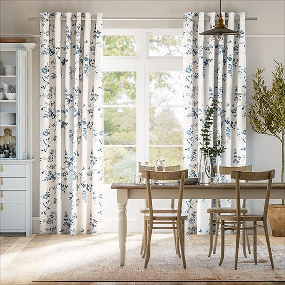 Birds and Roses Blue Curtains