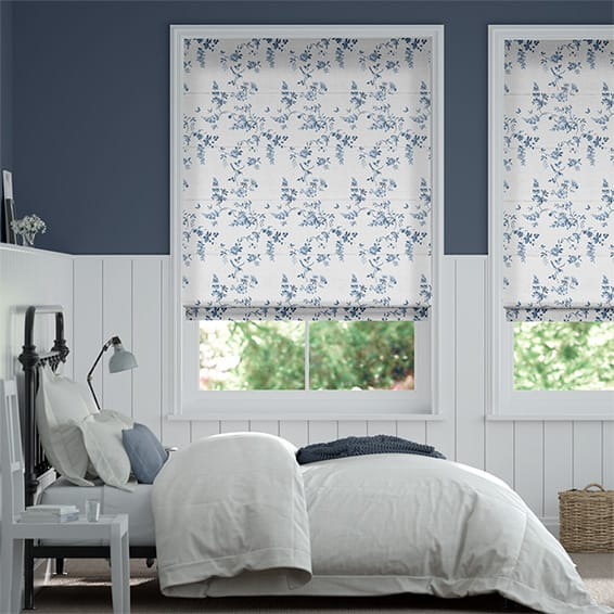 Birds and Roses Blue Roman Blind