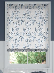 Birds and Roses Blue Roman Blind thumbnail image