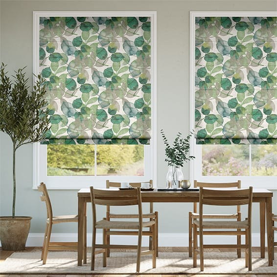 Blakely Linen Vintage Lily Pad Roman Blind