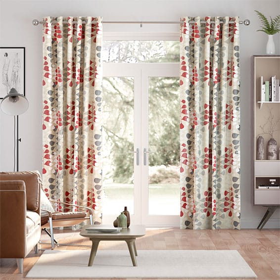 Blooming Meadow Faux Silk Ruby Curtains