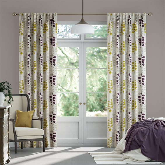Blooming Meadow Linen Amethyst Curtains