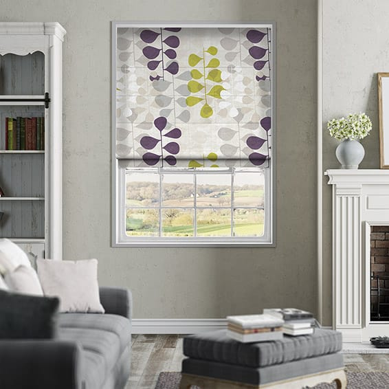 Blooming Meadow Linen Amethyst Roman Blind