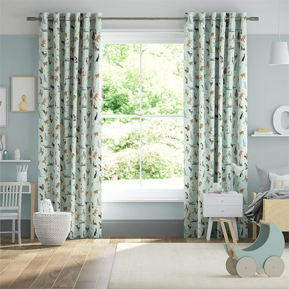 Blue Cats Duck Egg Curtains