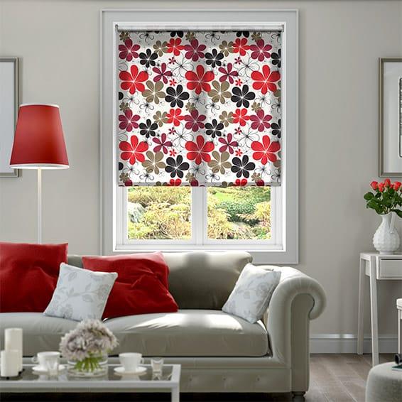 Bouquet Red Roller Blind