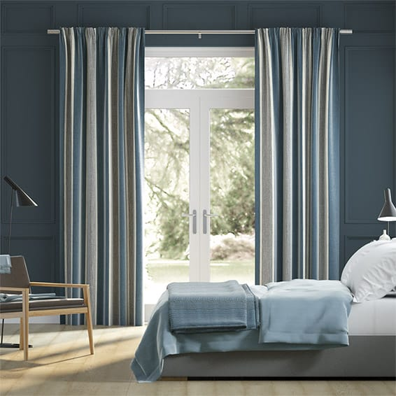 Brazen Stripe Linen Vintage Bold Blue Curtains