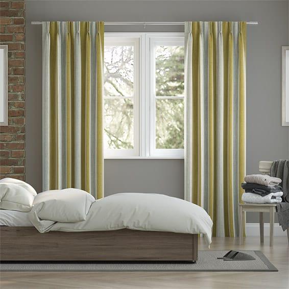 Brazen Stripe Linen Vintage Citrus Smoke Curtains