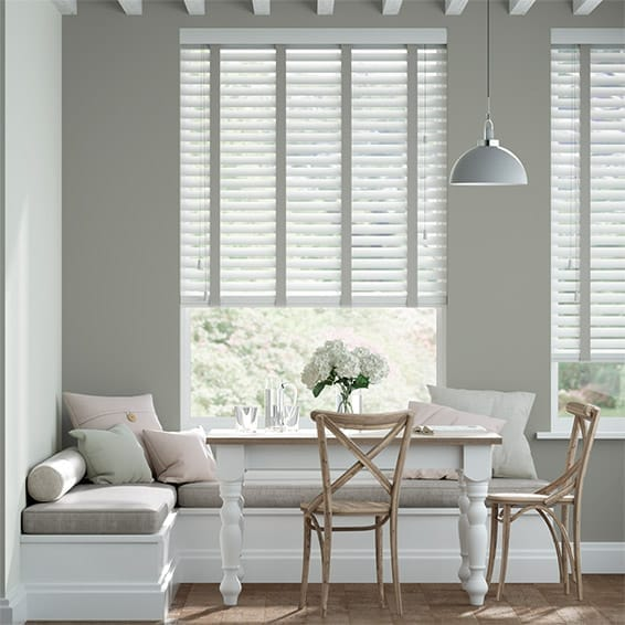 Brightest White and Elephant Grey Wooden Blind - 50mm Slat