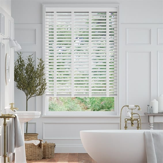 Brightest White and Glacial White Wooden Blind  - 50mm Slat
