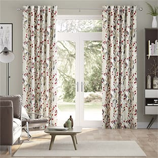 Bursting Berries Linen Cherry Pop Curtains thumbnail image