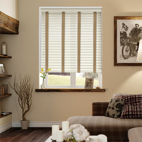 Buttermilk & Camel Faux Wood Blind - 50mm Slat