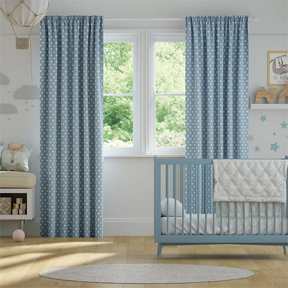Button Spot Blue Curtains