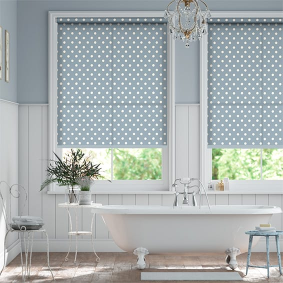 Button Spot Blue Roller Blind