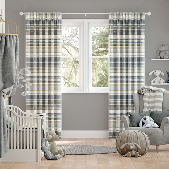 Calcutta Stripe Blue Mist Curtains