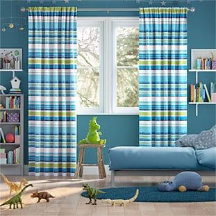 Calcutta Stripe Lake Blue Curtains thumbnail image