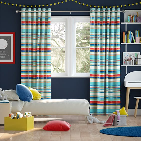 Calcutta Stripe Seaside Blue Curtains