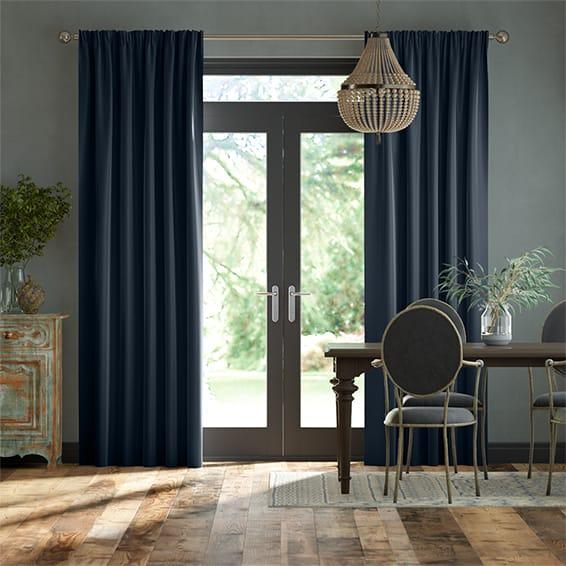 Canterbury Velvet Storm Blue Curtains