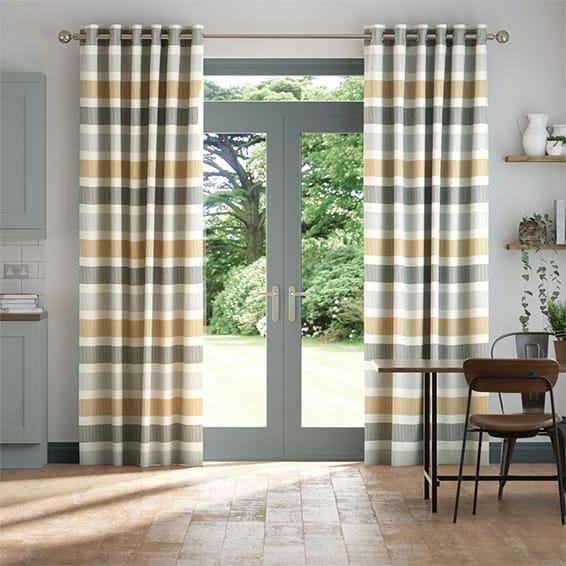 Cardigan Stripe Flax Grey Curtains