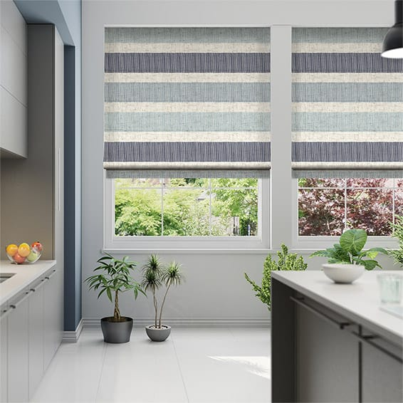 Cardigan Stripe Linen Blue Horizon Roman Blind