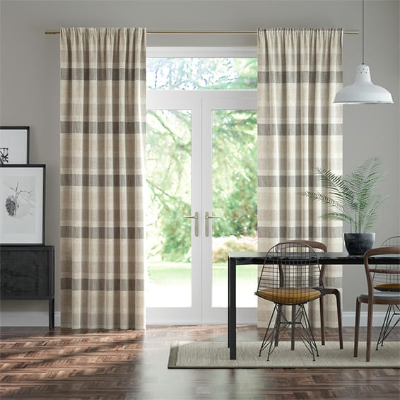 Cardigan Stripe Linen Stone Curtains