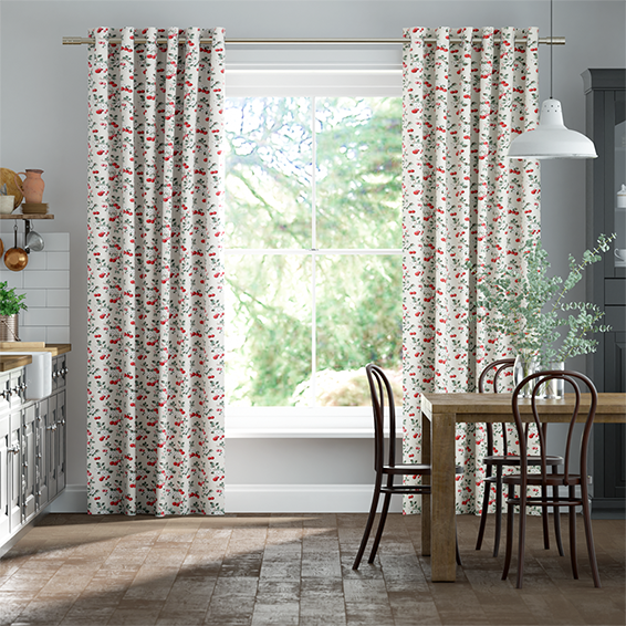 Cherry Sprig Red Curtains