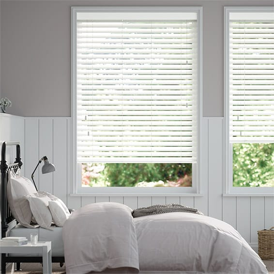 Chiffon White Wooden Blind - 50mm Slat