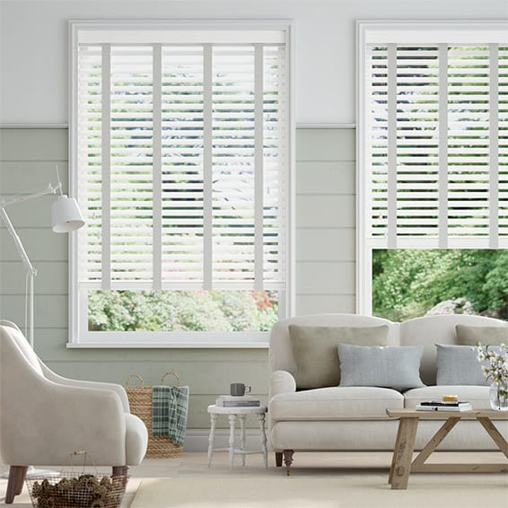 Chiffon White and Chic Grey Wooden Blind - 50mm Slat