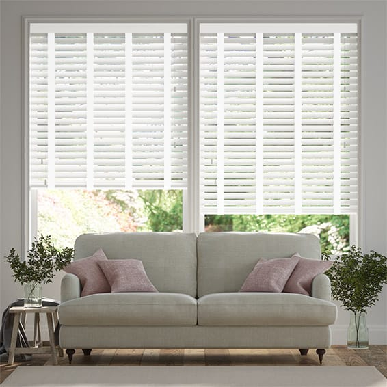 Chiffon White and Glacial White Wooden Blind - 50mm Slat