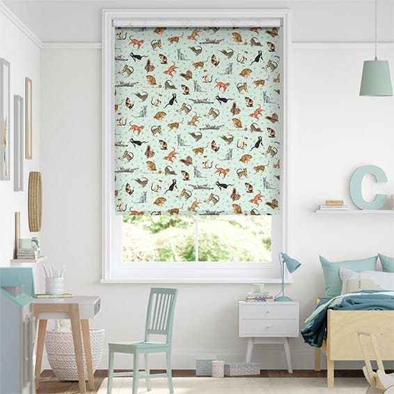 Choices Blue Cats Duck Egg Roller Blind
