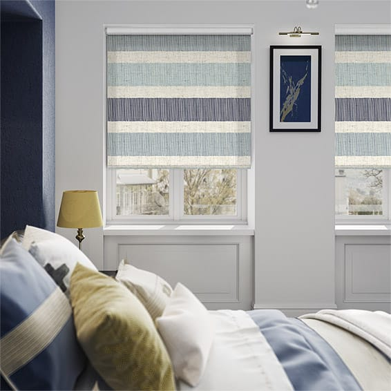 Choices Cardigan Stripe Linen Blue Horizon Roller Blind
