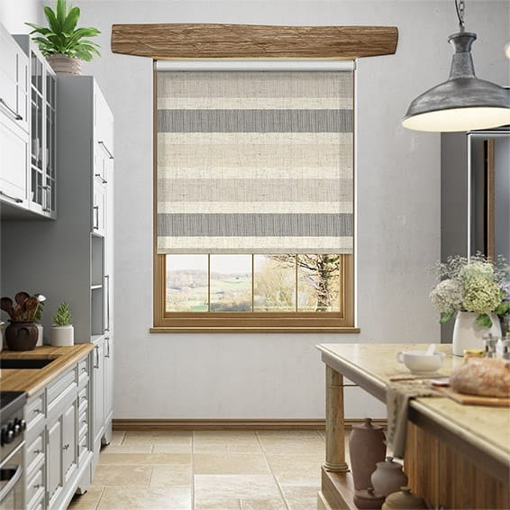 Choices Cardigan Stripe Linen Stone Roller Blind